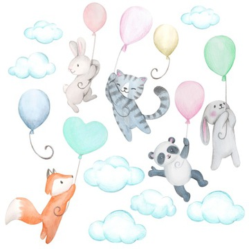 detské nálepky na nástenné balóniky s balónikmi