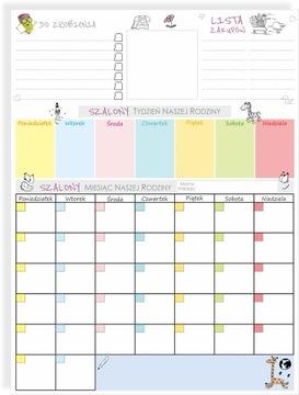 Plánovač Magnetická tabuľa na kalendár VEĽKÁ 60x45cm
