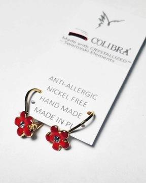 kolczyki złote dziewczęce COLIBRA różowe kwiatki