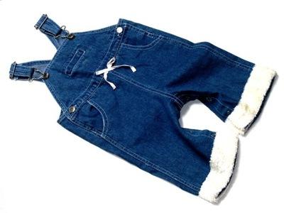 BABY jeansowe spodnie ogrodniczki futerko ___ 68