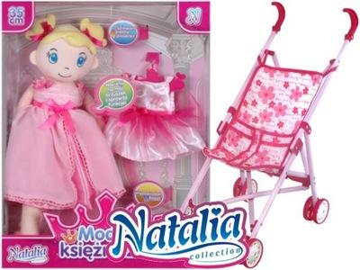 NATALIA Lalka Szmacianka Różowa+Wózek LP0009 18m+