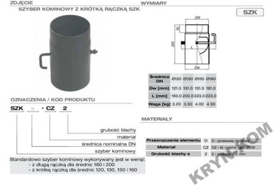 SZYBER KOMINKOWY  FI 150, 2 mm BLACHA