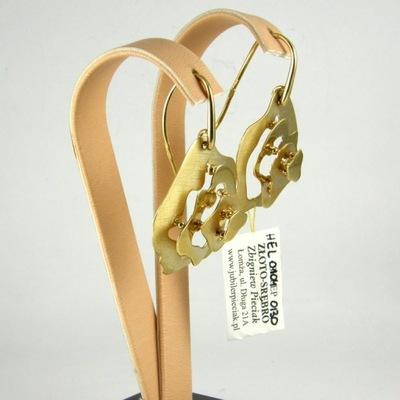 Kolczyki Wiszące Złote 585 eleganckie kwiaty