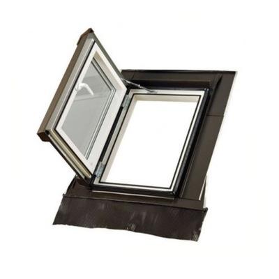 Poď von, strešné okno LOFT 45x73 ľavej RAL 8019 + golier