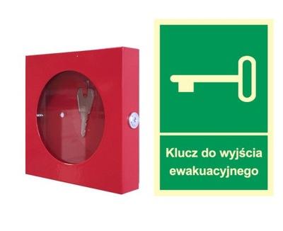 ZESTAW: Skrzynka metalowa mini + znak ewakuacyjny