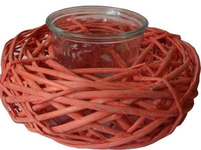плетеная декор Корзина плетеный +стекло на свечу