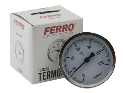 """SHIELD THERMOMETER 63mm 1/2 """"axial, 0-120C"""