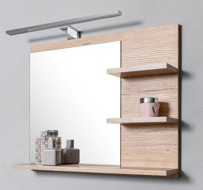 Zrkadlo - Lustro z 3 pólkami P,dąb sonoma, lampaLED,do łazie