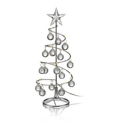 Świecznik ozdoba świąteczna choinka LED chrom