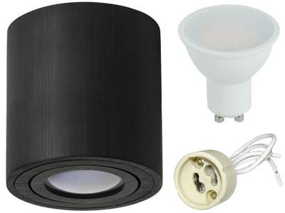 Bodové svetlá, bodové osvetlenie - Zestaw oprawa HALOGENOWA natynk spot + LED GU10 6W