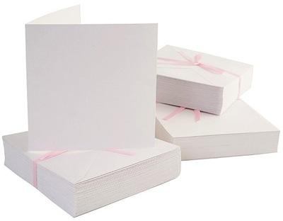 комплект 50шт карт со всеми конвертами - Квадратные белое