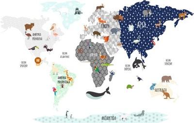 Stena nálepky, farebné mapy sveta zvierat