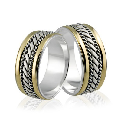 3d202eac1a72 Obrączki srebrne z inicjałami - wzór Ag-202 5895573744 - Allegro.pl