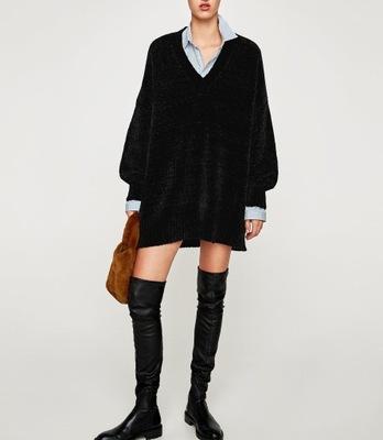305078584754a0 ZARA długi sweter sukienka z rozcięciami szary L - 7632385358 ...