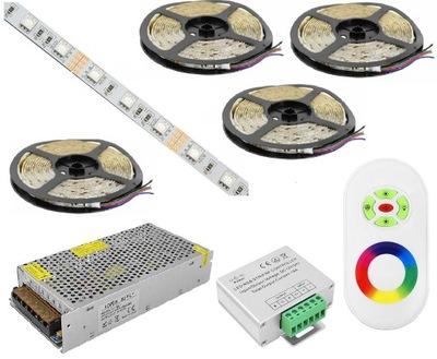 NASTAVIŤ 20m 5050 RGB LED PÁSY diaľkový ovládač RF TOUCH NÁPLŇ