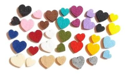 Ozdoby świąteczne serca 40szt mix kolorów filc