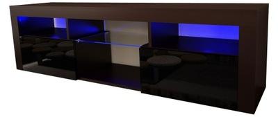 Шкаф столик RTV АДИС 12 160см Черный блеск LED