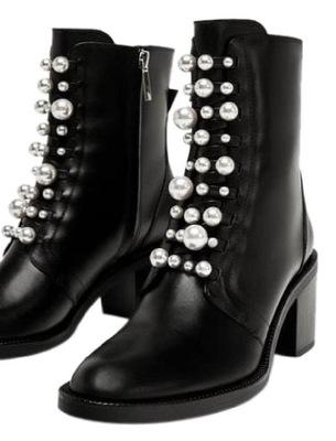 fe541beadec2c botki czarne Zara perły z perłami oryginalne 39 - 7697030241 ...