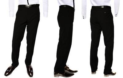 Spodnie czarne garniturowe wizytowe w pasie 100 cm