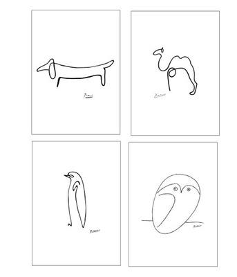 4 ПЛАКАТЫ А4 ПАБЛО ПИКАССО сова животные