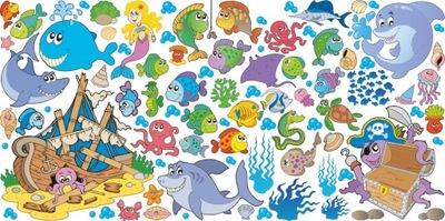 NÁLEPKY NA STENY FISH Sada na more 3 140x70 cm