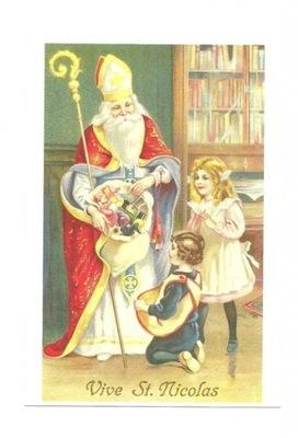 Poczt. - Święty Mikołaj, dzieci i worek prezentów