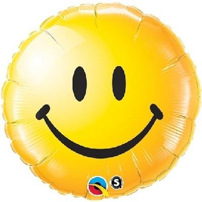 Balon Foliowy Uśmiech Żółty Urodziny Party 45cm