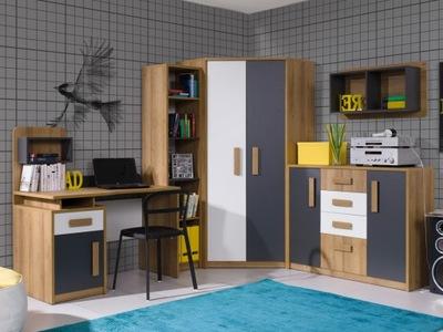 мебель QUATRO 07 комплект шкаф Угловой письменный стол, комод