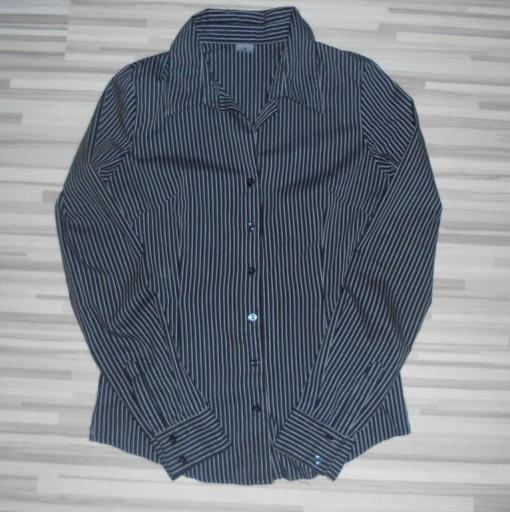 elegancka czarna koszula w paski pasy nowa S/M