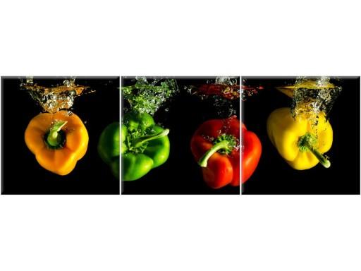 Obraz Do Kuchni Papryki 90x30 Tryptyk 3 Częściowy