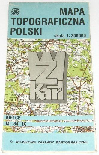 Kielce Mapa Topograficzna 1200 000 1990 7164881446 Allegro