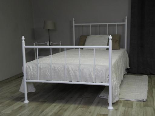 łóżko Metalowe Paweł 140 Kute Białe Czarne