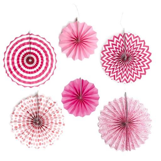 Rozety Papierowe Różowe Ozdobne Dekoracyjne 6 Szt