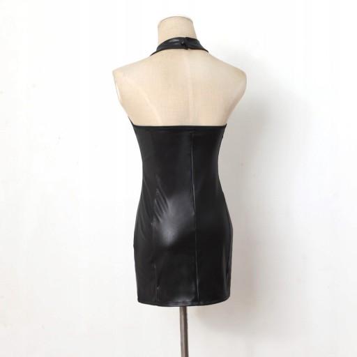 b4a5e1cc Sukienka skórzana lateksowa mini mała czarna M 38