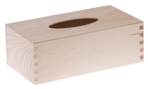 CHUSTECZNIK drewniany pudełko chusteczki DECOUPAGE