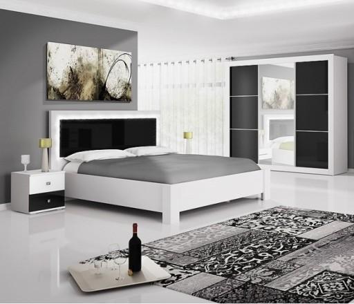 Sypialnia Romi Ii Biały Czarny Połysk łóżko Szafa