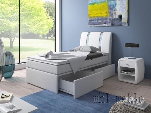łóżko Tapicerowane 90x200 Kpl Materace Szuflady