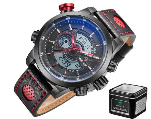 Bardzo dobra DUŻY MARKOWY Zegarek męski WEiDE LED Skóra JAKOŚĆ! 6128113641 LI52