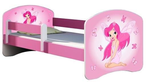 Łóżko dziecięce 140X70 + materac RÓŻOWE ACMA