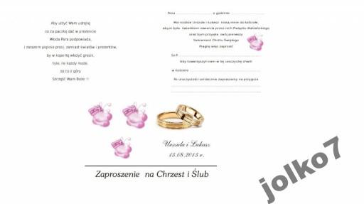 Zaproszenia Zaproszenie Na Chrzest I ślub 2 W 1 6823481039 Allegropl
