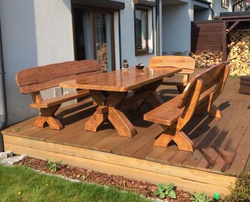 Meble Ogrodowe Drewniane Stol Z Bala Zestawy 7598085108 Allegro Pl