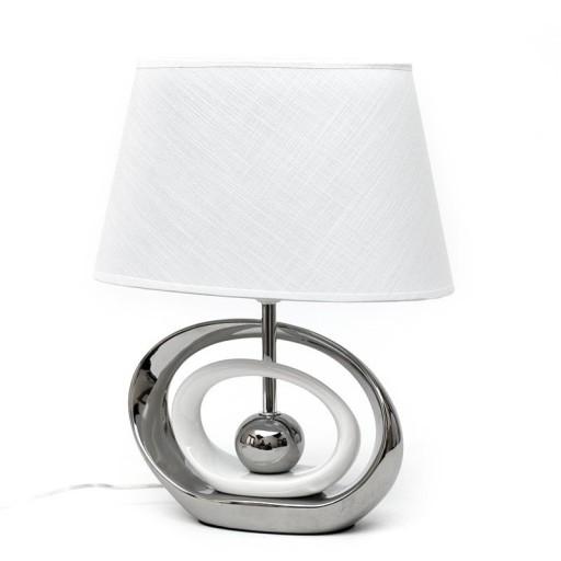 Lampa Stołowa Biała Srebrna Ceramiczna H41cm Nocna 7141970032