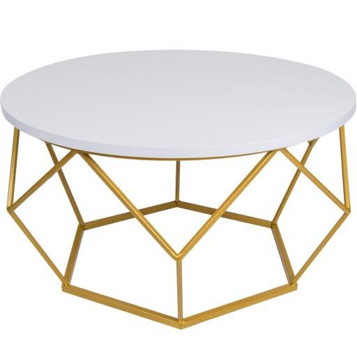 Stolik Okazjonalny Okrągły Do Salonu Złoty Glamour