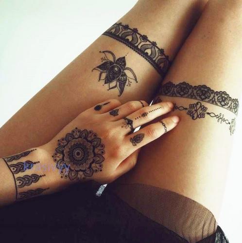 Zestaw Tatuaż Zmywalny Wzór Hinduski Henna 21x15cm