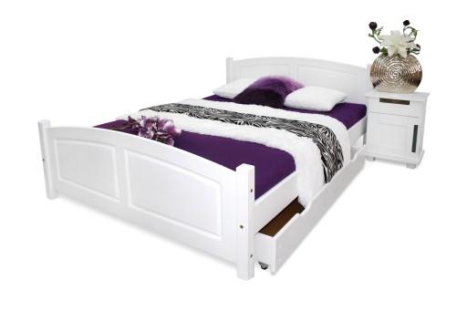 łóżko Drewniane Białe Zyta 140x200 Stelaż Masywne