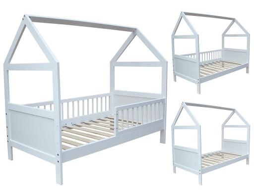 łóżko Domek 140x70 Barierki Białe 2w1 Tapczanik 6912811916