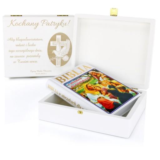 Biblia dla dzieci SZKATUŁKA prezent Chrzest GRAWER