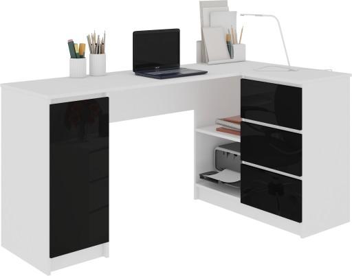 Biurko Narożne Komputerowe B20 155cm Czarny Połysk