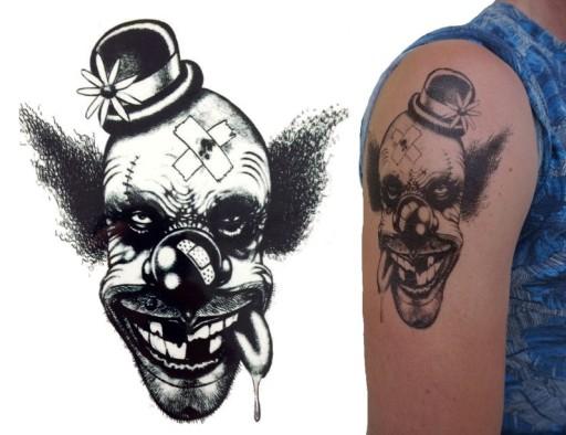 Tatuaż Z Klaunem Naklejka Joker Zły Klaun Tm47