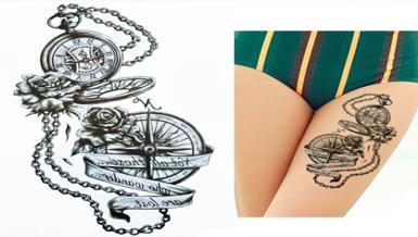 Tatuaż Zmywalny 21x15 Kompas Róża Kolce łańcuch 7453224622 Allegropl